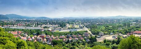 Free Panoramic View From The Fortress Wall Of Palanok Castle On The City Of Mukacheve And Its Surroundings Stock Photography - 170934222