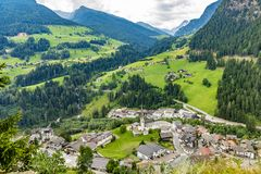 Free Panoramic View From The Timmelsjoch High Alpine Road In Texelgruppe To Village Of Moos In Passeier Region,  Oetztal Alps,  Tyrol, Stock Photo - 158589030