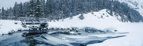 Panoramic view on a almost frozen lake stock photo