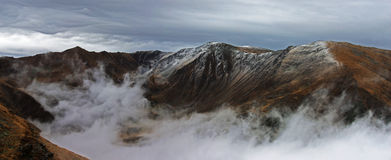 Panoramic view of a frozen mountain in Romania Stock Image