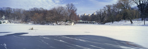 Panoramic view of frozen pond in Central Park, Manhattan, New York City, NY after winter snowstorm Stock Image