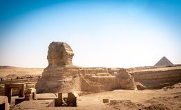 Panoramic view of the full profile of the Great Sphinx with the stock photography