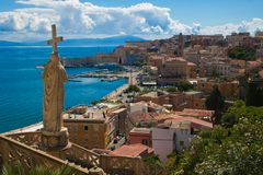 Panoramic view of Gaeta old village on the sea stock photography
