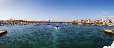 Panoramic View from Galata Bridge, Istanbul Royalty Free Stock Images