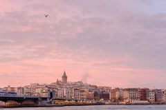 Panoramic view on Galata district, Istanbul, during sunset stock photography