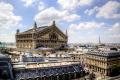 Skyline of Paris with Galeries Lafayette in Paris, France. royalty free stock photo