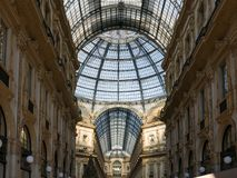 Panoramic View of the Gallery Vittorio Emanuele II and the Christmas tree royalty free stock photos