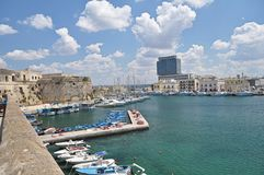 Panoramic view of Gallipoli harbour,Italy Stock Image