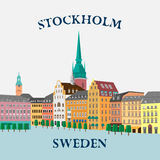 Panoramic view of the Gamla Stan. Stockholm, Sweden Royalty Free Stock Photo