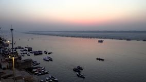 Panoramic view on Ganga River before sunrise in Varanasi, India, 4k footage video.  stock video footage