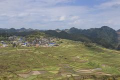Panoramic view of the Gaoyao Rice terraces in Guizhou royalty free stock photo