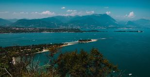 Panoramic view of Garda Lake, Italy, low visibility, Stock Photos