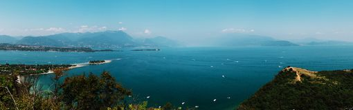 Panoramic view of Garda Lake, Italy, low visibility Stock Photos