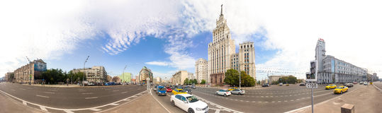 360 panoramic view of Garden-Spasskaya avenue with Red Gate Building in Moscow. MOSCOW - AUGUST 19, 2016: 360 panoramic view of Garden-Spasskaya avenue with Red stock image