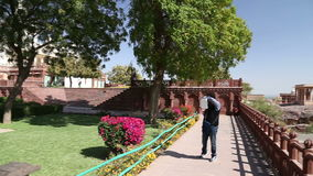 Panoramic view of garden and temple ruins in front of Jaswant Thada temple. stock video