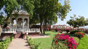 Panoramic view of garden and temple ruins in front of Jaswant Thada temple. stock footage