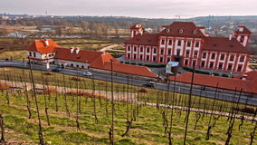 Panoramic view on the garden and Troja castle, Prague stock video