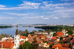 Panoramic view from Gardos Lookout In Zemun, on River Danube Royalty Free Stock Image