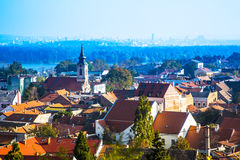 Panoramic view from Gardos, Zemun, with church tower in Belgrade Stock Photo