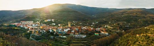 Panoramic view of Garganta la Olla. Panoramic view of Garganta la Olla, Caceres, Extremadura, Spain Royalty Free Stock Image