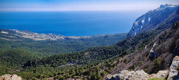 Panoramic view of Gaspra city and Black sea from the top of Ai-Petri plato Stock Photos