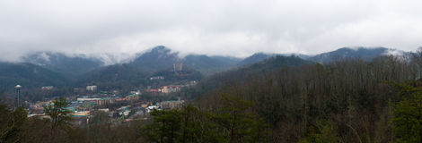 Panoramic view of Gatlinburg in Tennessee Stock Photography