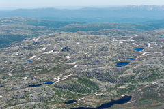 Panoramic view from Gaustatoppen mountain at sunny summer day Royalty Free Stock Photo