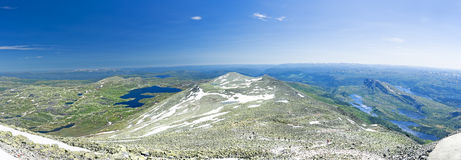 Panoramic view from Gaustatoppen mountain at sunny summer day Royalty Free Stock Image