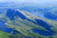 Panoramic view from Gaustatoppen mountain at sunny summer day Royalty Free Stock Images