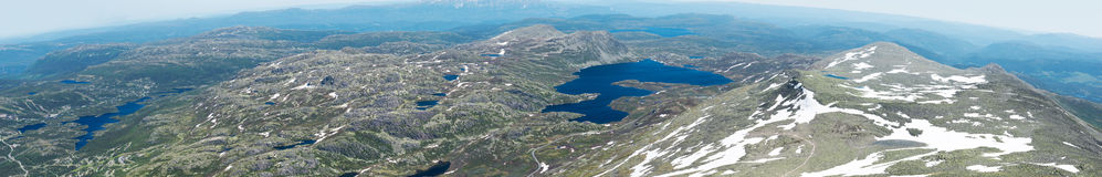 Panoramic view from Gaustatoppen mountain at sunny summer day Royalty Free Stock Photos