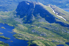Panoramic view from Gaustatoppen mountain at sunny summer day Stock Images
