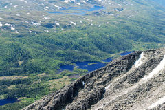 Panoramic view from Gaustatoppen mountain at sunny summer day Royalty Free Stock Photography