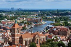 The panoramic view from the Gdansk cathedral of Saint Virgin, Poland Stock Image