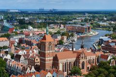 The panoramic view from the Gdansk cathedral of Saint Virgin, Poland Royalty Free Stock Photography