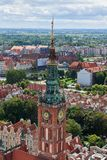 The panoramic view from the Gdansk cathedral of Saint Virgin, Poland stock images