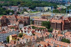 The panoramic view from the Gdansk cathedral of Saint Virgin, Poland Royalty Free Stock Photo