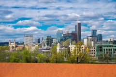 Panoramic view from Gediminas tower of the modern city center Stock Photography