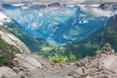 Geiranger fjord from mount Dalsnibba in Norway. royalty free stock images