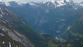 Panoramic view Geiranger Norway stock video