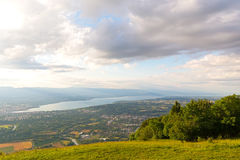 Panoramic view of Geneva city and Lake Geneva from the mountains. Royalty Free Stock Photos