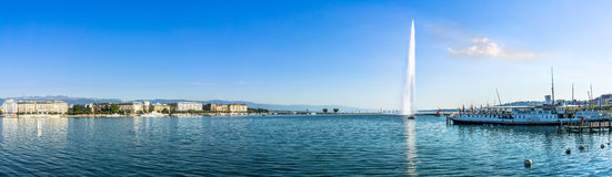 Panoramic view at the Geneva with fountain. GENEVA,SWITZERLAND - AUGUST 27,2016 - Panoramic view at the Geneva with fountain. Geneva is a global city, a stock image