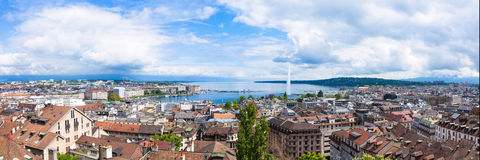 Panoramic view of Geneva water fountain. From the Saint-Pierre cathedral - Switzerland stock image