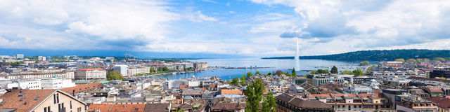 Panoramic view of Geneva water fountain. From the Saint-Pierre cathedral - Switzerland stock photography
