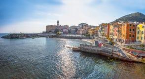 Panoramic view of Genoa Genova Nervi, Ligurian Coast, mediterranean sea, Italy royalty free stock image