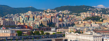 Panoramic view of Genoa`s harbor Royalty Free Stock Photography