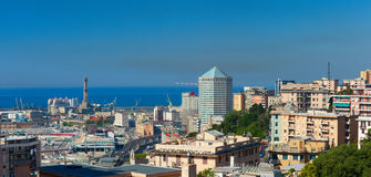Panoramic view of Genoa`s harbor Royalty Free Stock Images