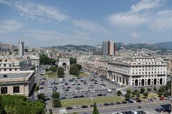 Panoramic view of Genoa in a summer day, Italy royalty free stock photos