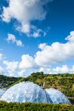 Panoramic view of the geodesic biome domes at the Eden Project. The Eden Project is a visitor attraction in Cornwall, England Stock Images