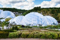 Panoramic view of the geodesic biome domes at the Eden Project. The Eden Project is a visitor attraction in Cornwall, England stock image