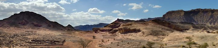 Panoramic view on geological Timna park, Israel Royalty Free Stock Image